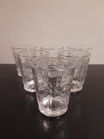 Jogo Copo vidro Coqueiro 6pçs 9x11cm