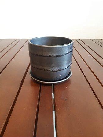 Vaso Cerâmica Liso c/ prato P chum 11x13cm
