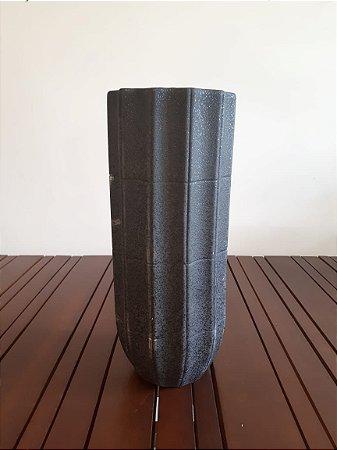 Vaso Cerâmica Ondas alto grafite P 27x13cm