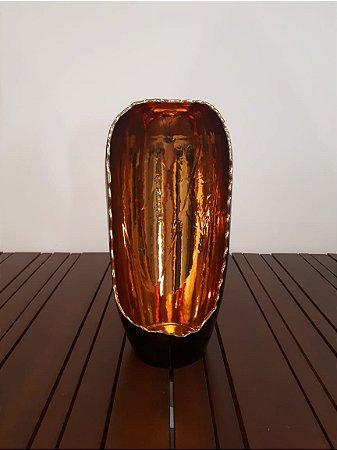 Luminária Redonda G pto/our 42x20cm