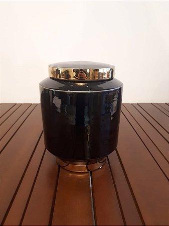 Pote Porcelana preto/dourado 25x25x33cm