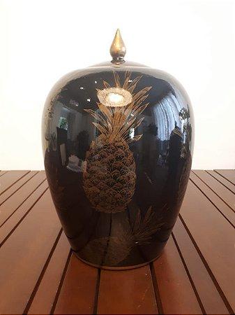 Potiche Porcelana Abacaxi P pto/dour 20x20x30cm