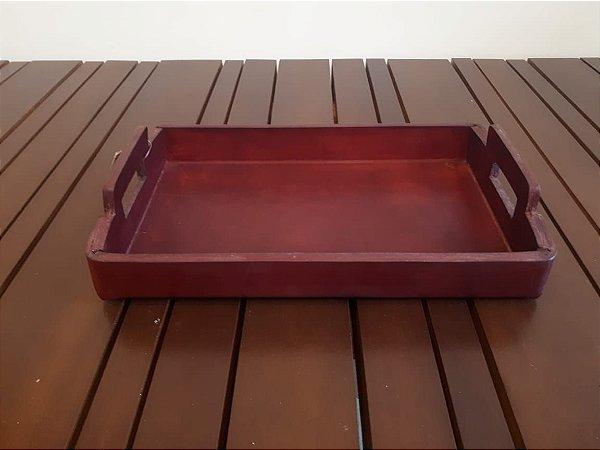 Bandeja Couro AW vermelho 4x31x18cm