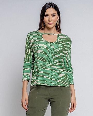 Blusa Estampada Detalhe Decote Silvia