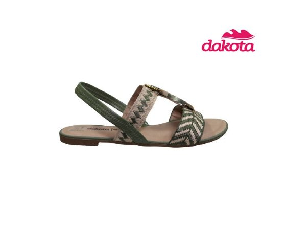 Sandalia Rasteira Dakota Z7402 - Cru/Verde