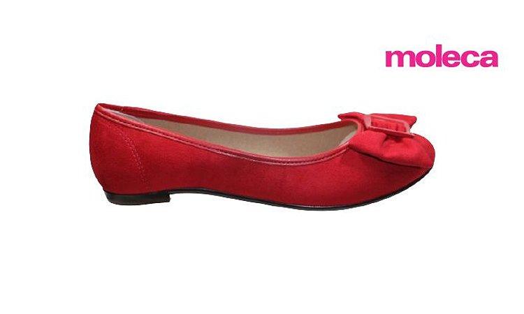 Sapatilha Feminina Moleca 5669.123 - Camurça Vermelho