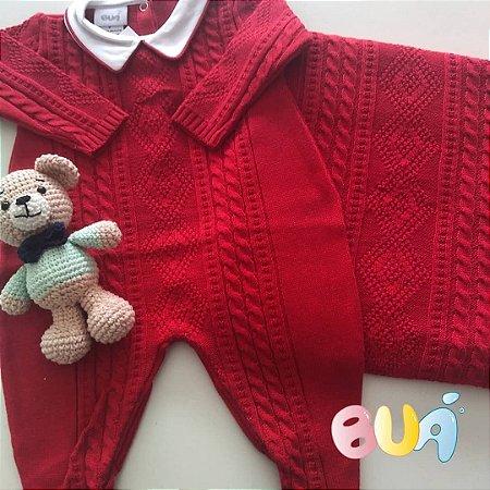 Saída Maternidade Masculino tricot - Vermelho - 02 Peças