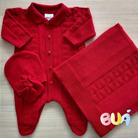 Saída Maternidade Masculina Tricot - Vermelho - 02 Peças