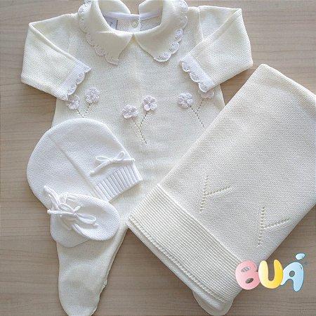 Saída Maternidade Feminina Tricot - Off White - 02 Peças
