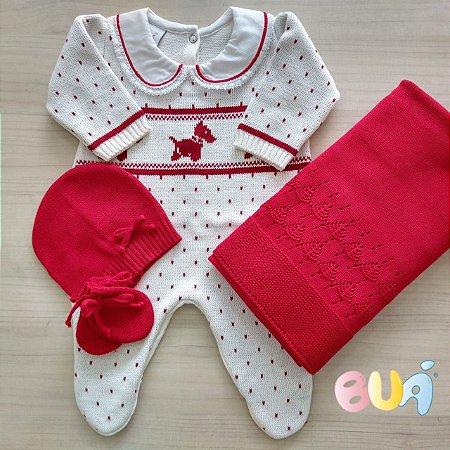 Saída Maternidade Feminina Tricot - Off White / Vermelho - 02 Peças