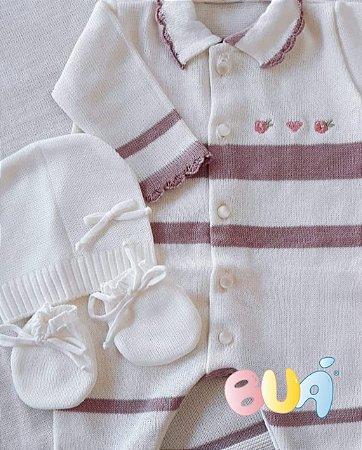 Saída Maternidade Feminina Tricot - Off White / Rosa Old - 02 Peças