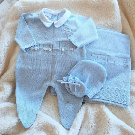 Saída Maternidade Tricot Masculina - Azul Bebê cód.8108S