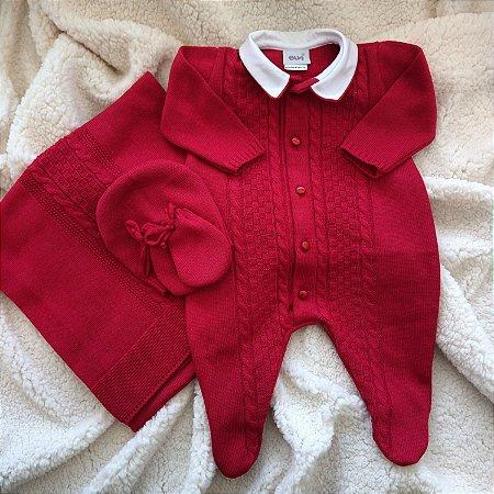 Saída Maternidade Tricot Masculina - Vermelho cód.8906S