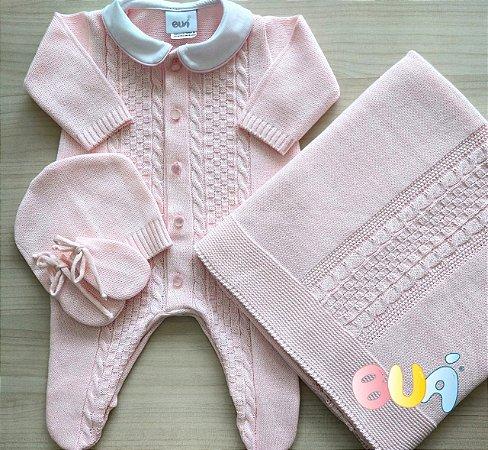 Saída Maternidade Feminina Tricot - Rosa Bebê - 02 Peças