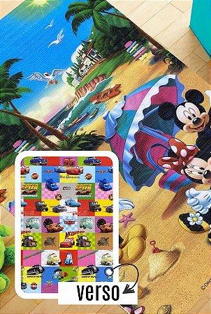 Tapete Recreio Disney 1,20 X 1,80 Carros/ Mickey - frente e verso