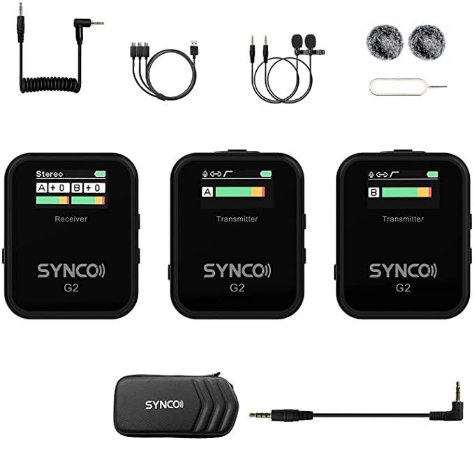 Microfone de Lapela Synco WAir-G2-A2 Ultracompact 2-Pessoas (2.4 GHz) NFe