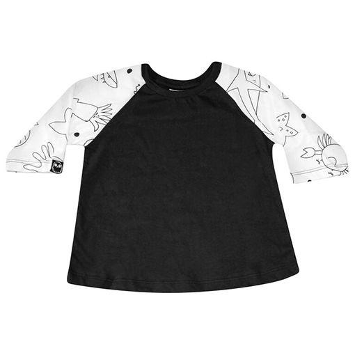 Camiseta Raglã Manga Estampada