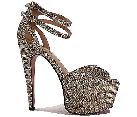e4540b7ac sandalia feminina salto alto dourada festa sola vermelha - Kalceaki ...