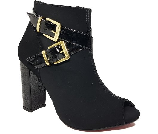 Bota Feminina Ankle Boots Dom & Amazona 33 ao 40 Nobuck Preto Cód 47