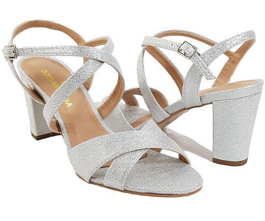 2852b85c8 sandalia Feminina salto médio dom amazona prata festa - Kalceaki ...
