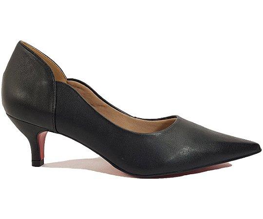 Sapato Scarpin Salto Baixo Dom Amazona Preto Cód170