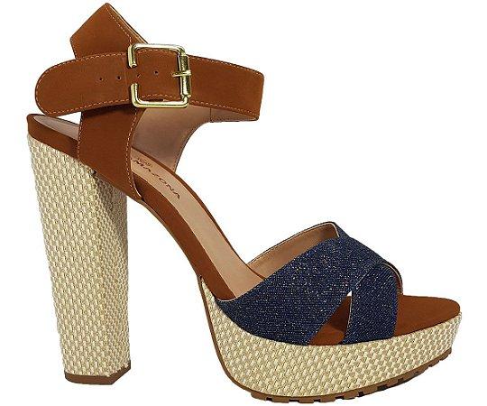 Sandália Salto Alto Grosso Dom Amazona Jeans Números Grandes Cód 35