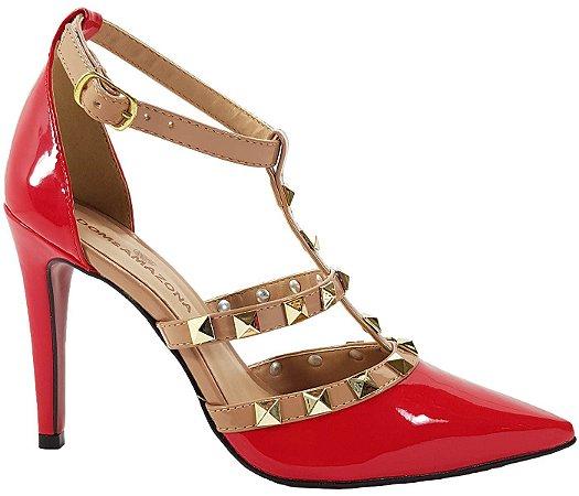 Sapato Salto Alto Estilo Valentino Dom Amazona Vermelho Verniz Cód 41