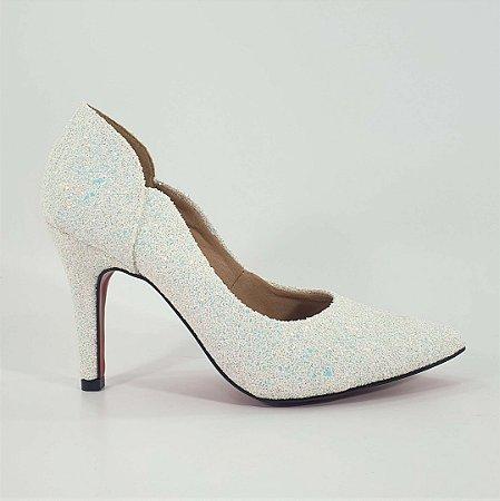 Scarpin Feminino Salto Alto Branco Glitter Noiva Dom Amazona Cd 596