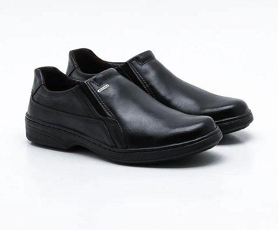 Sapato Masculino Pegada Sem Cadarço Couro 21206 Preto Cd 313