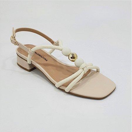 Sandália Salto Baixo Dom Amazona Números Grandes Off White 1760781