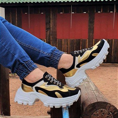 Tênis Chunky Dom Amazona Numeração Especial Preto/Ouro 41407