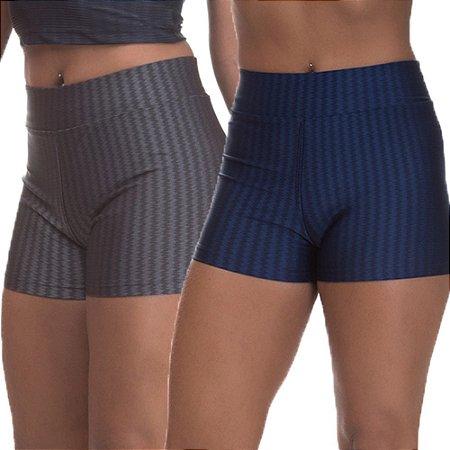 Kit 2 Shorts Cirre 3D Poliamida Azul Marinho E Cinza