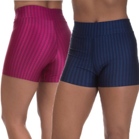 Kit 2 Shorts Cirre 3D Poliamida Azul Marinho E Cereja