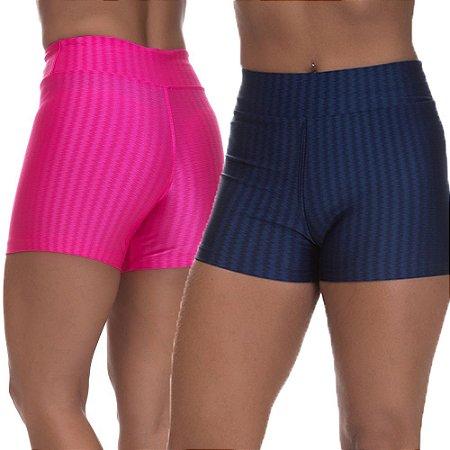 Kit 2 Shorts Cirre 3D Poliamida Azul Marinho E Rosa