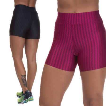 Kit 2 Shorts Cirre 3D Poliamida Preto E Cereja