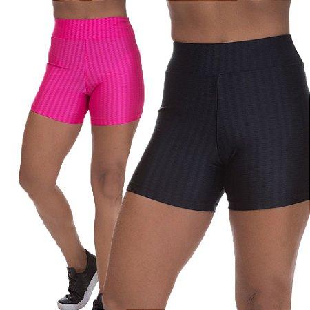 Kit 2 Shorts Cirre 3D Poliamida Preto E Rosa