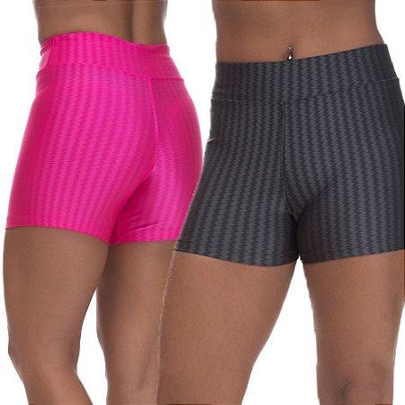 Kit 2 Shorts Cirre 3D Poliamida Cinza E Rosa