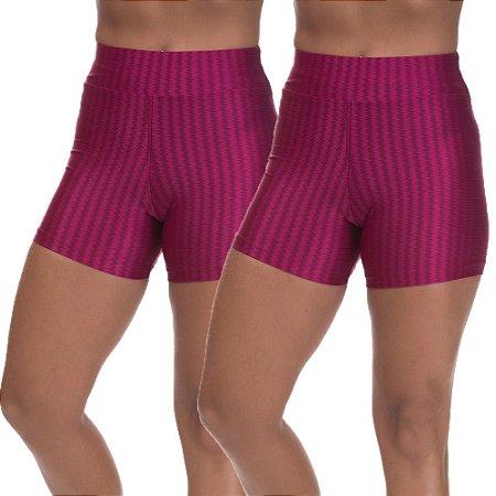 Kit 2 Shorts Cirre 3D Poliamida Cereja