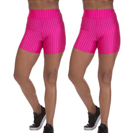 Kit 2 Shorts Cirre 3D Poliamida Rosa