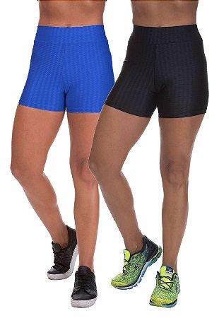 Kit 2 Shorts Cirre 3D Poliamida Azul Royal E Preto