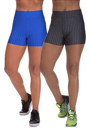 Kit 2 Shorts Cirre 3D Poliamida Azul Royal E Cinza