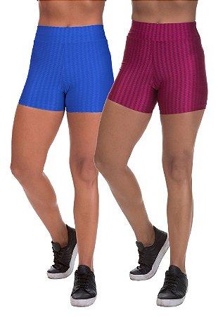Kit 2 Shorts Cirre 3D Poliamida Azul Royal E Cereja