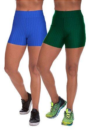 Kit 2 Shorts Cirre 3D Poliamida Azul Royal E Verde