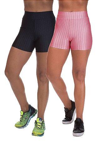 Kit 2 Shorts Cirre 3D Poliamida Rose e Preto