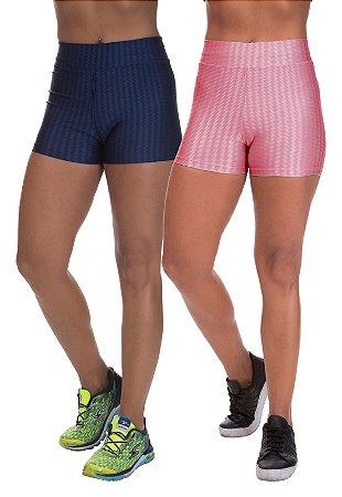 Kit 2 Shorts Cirre 3D Poliamida Rose e Azul Marinho