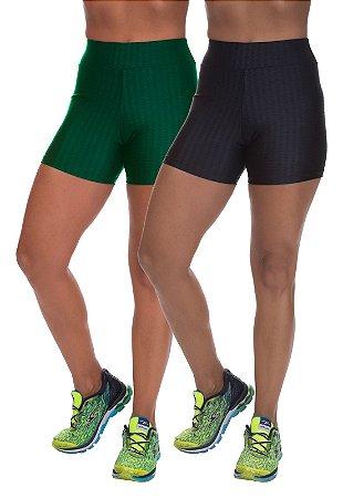 Kit 2 Shorts Cirre 3D Poliamida Verde E Preto