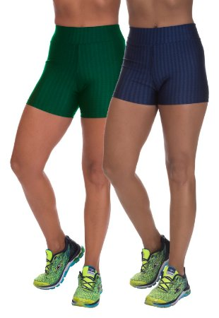 Kit 2 Shorts Cirre 3D Poliamida Verde E Azul Marinho