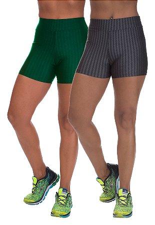 Kit 2 Shorts Cirre 3D Poliamida Verde E Cinza
