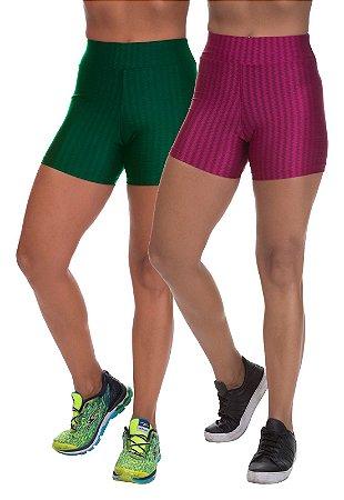 Kit 2 Shorts Cirre 3D Poliamida Verde E Cereja