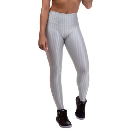 Legging Fitness Feminina 3D Cirre Prata